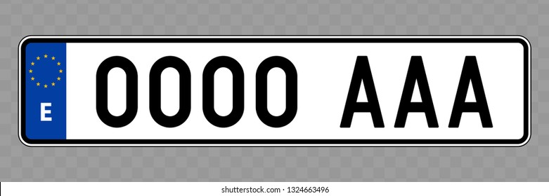Number plate. Vehicle registration plates of Spain