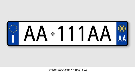 number plate. Vehicle registration plates of Italy