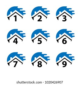 Number set button with blue house, icon set. Flat design.