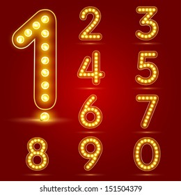 Number set with realistic lamp, vector illustration. can be used for christmas / happy new year / happy birthday and more.