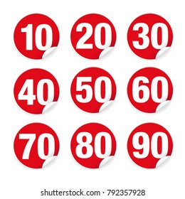 Number set sticker red vector