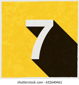 Number Seven, 7 on retro poster with long shadow. Vintage sign with grunge effects. Vector illustration, easy to edit, manipulate, resize or colorize.