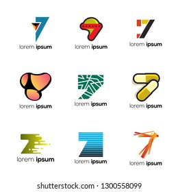 Number Seven Abstract Vector Logo Design Template. Creative Numbers Concept Icon Set. Logo 7