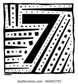 Number seven as abstract woodcut style pattern. Vector design element illustration