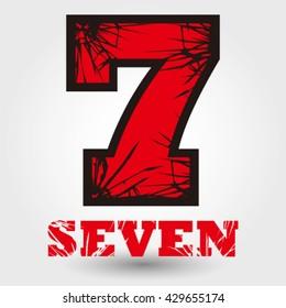 Number seven cracked vector illustration