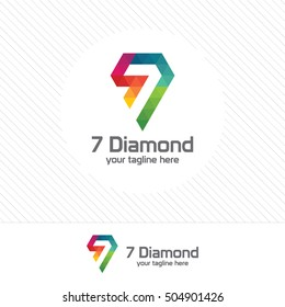 Number seven and diamond logo design vector with colorful triangle pixel.