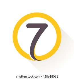 Number seven logo in circle. Flat vector design for banner, presentation, web page, card, labels or posters.