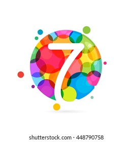 Number seven logo with rainbow dots. Colorful vector design for banner, presentation, web page, card, labels or posters.