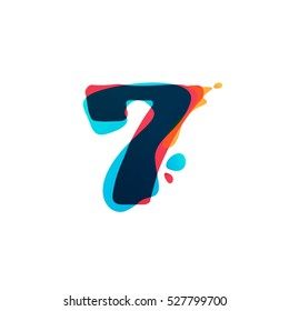 Number seven logo with watercolor splashes. Color overlay style. Vector typeface for labels, headlines, posters, cards etc.