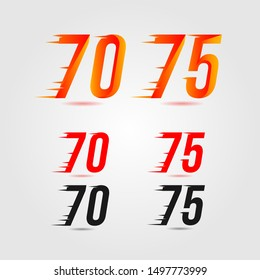 Number seventy (70) and seventy five (75) fast logo. Speed design concept. Element for poster, banner, cards, t-shirt. Colorful vector