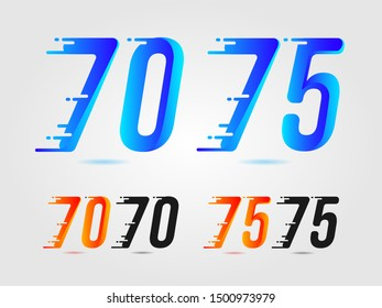 Number seventy (70) and seventy five (75) speed logo. Fast design concept. With gradient color and solid color. Vector element for banner, poster, cards and t-shirt. Colorful and beautiful
