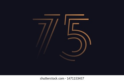 Number seventy five / 75 vector font alphabet, modern dynamic luxury flat design for your unique elements design ; logo, corporate identity, application, creative poster & more