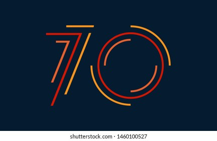 Number seventy vector font alphabet, modern dynamic flat design with brilliant colorful for your unique elements design ; logo, corporate identity, application, creative poster & more