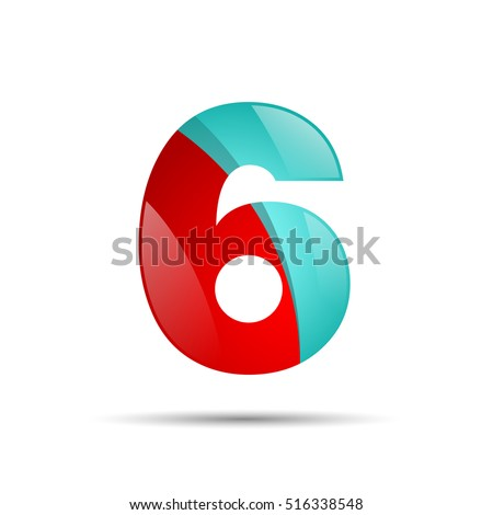 number six 6 colorful 3 d volume stock vector royalty free