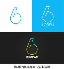 Number six 6 logo design icon set background