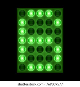 Number six 6 on green LED display. vector eps 10