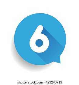 Number six 6 speech bubble blue