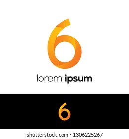 Number Six Abstract Vector Logo Design Template. Creative Number Concept Icon, Logo 6