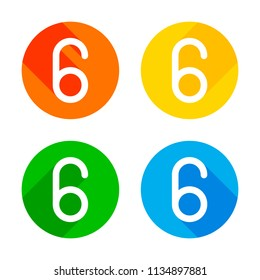 Number six, numeral, simple letter. Flat white icon on colored circles background. Four different long shadows in each corners
