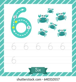 Number six tracing practice worksheet with 6 crabs for kids learning to count and to write. Vector Illustration.