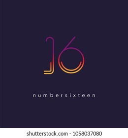Number sixteen, Digit 16 Logo Icon vector template.