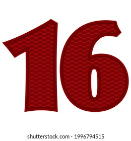 Number Sixteen Vector Illustration. Red Number 16 With Abstract Pattern Isolated On A White Background