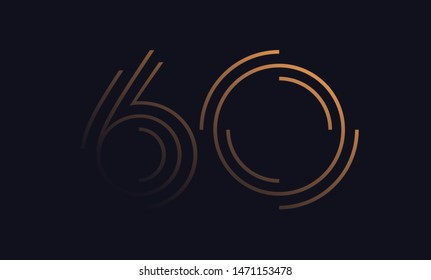 Number sixty / 60 vector font alphabet, modern dynamic luxury flat design for your unique elements design ; logo, corporate identity, application, creative poster & more