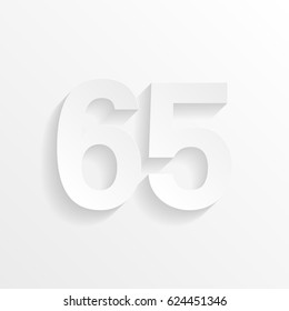 Number Sixty-five, 65 with shadow. Cut paper isolated on a white background. Vector illustration.