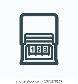 Number stamp isolated icon, numbering stamp outline vector icon