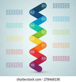 Number Steps 3d Info graphic 1 to 10
