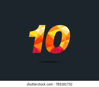 Number ten 10 Logo Icon, filled with geometric pattern. polygon letter. Vector Element.