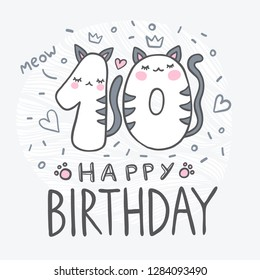 Number Ten with cartoon cat character vector illustration. Beautiful element for kids birthday party invitation, greeting card and cake toppers design.