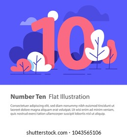 Number ten, top chart concept, sequential number, decade, night sky, park trees, vector flat design, minimalist illustration