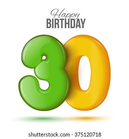 Number thirty, 30 greeting card, 3d number eighteen. The volume figure 30 years. Positive, colorful, figure. Vector illustration. Inflatable green, yellow thirty. Sample card. celebrating birthday.