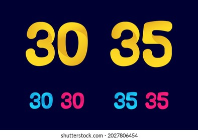 Number thirty (30) and thirty-five (35) funny logo designs. Colorful numbers collection. Cartoon, cute, playful template