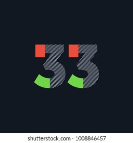 Number thirty three 33 Logo Icon, filled with line pattern. Vector