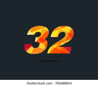 Number thirty two 32 Logo Icon, filled with geometric pattern. polygon letter. Vector Element.
