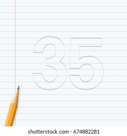 Number Thirty-five, 35 hand drawn with pencil on a paper sheet. Vector illustration, easy to edit.