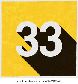 Number Thirty-three, 33 on retro poster with long shadow. Vintage sign with grunge effects. Vector illustration, easy to edit, manipulate, resize or colorize.
