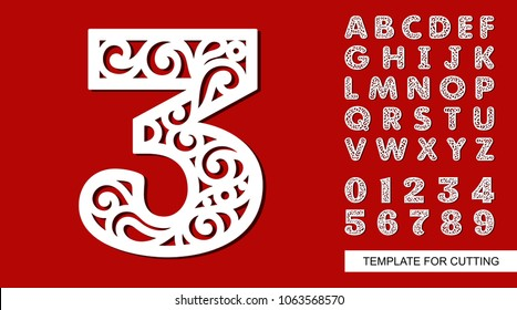 Number three - 3. Full English alphabet and digits 0, 1, 2, 3, 4, 5, 6, 7, 8, 9. Lace letters and numbers. Template for laser cutting, wood carving, paper cut and printing. Vector illustration.
