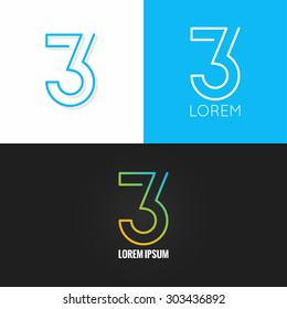 Number three 3 logo design icon set background