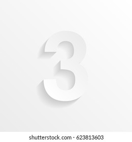 Number Three, 3 with shadow. Cut paper isolated on a white background. Vector illustration.