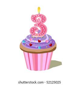 Number Three Cupcake