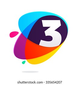 Number three with ellipses intersection. Vector design template elements for your application or corporate identity.