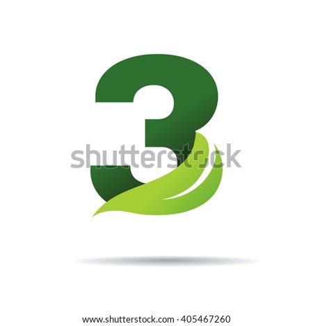 Number three green leaves vector logo stock vector royalty free number three with green leaves vector logo design template elements maxwellsz