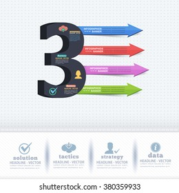 Number Three Infographics Design and Web Elements
