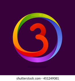 Number three logo in colorful circle. Vector design for banner, presentation, web page, card, labels or posters.