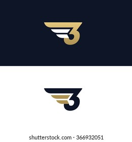 Number three logo template. Wings design element vector illustration. Corporate branding identity