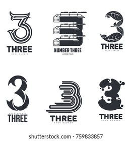 Number three logo templates. Black and white graphic number three logo templates, corporate identity, vector illustrations isolated on white background.