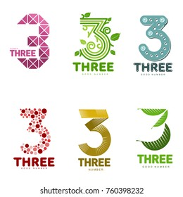 Number three logo templates. Full color graphic number three logo templates, corporate identity, vector illustrations isolated on white background.